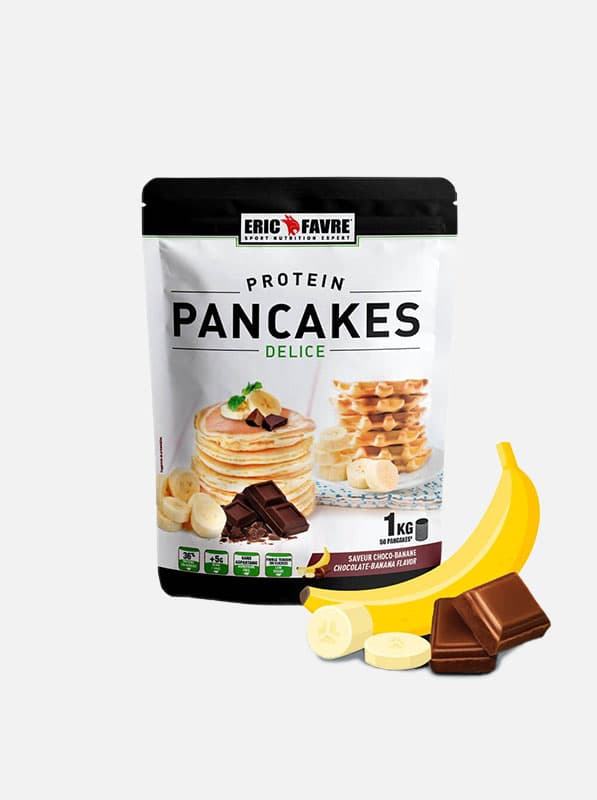 protein pancakes eric favre complement alimentaire - saveur banane chocolat